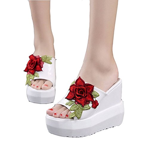 T-JULY Womens Summer Beach Wedge Platform High Heels Slide Sandals No-Slip Waterproof Girls Slippers White ()