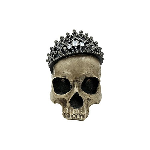 Comfy Hour Resin Horrific Human Skull Head Bone Wearing Crown with LED Light in Eyes Statue, Halloween Accent -