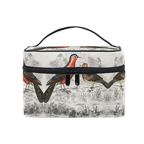 Vintage Drawing Partridge Bird Women Makeup Bag Travel Cosmetic Bags Toiletry Train Case Beauty Pouch Organizer -