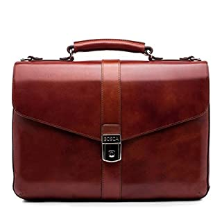 Bosca | Flapover Briefcase in Hand-Stained Italian Old Leather