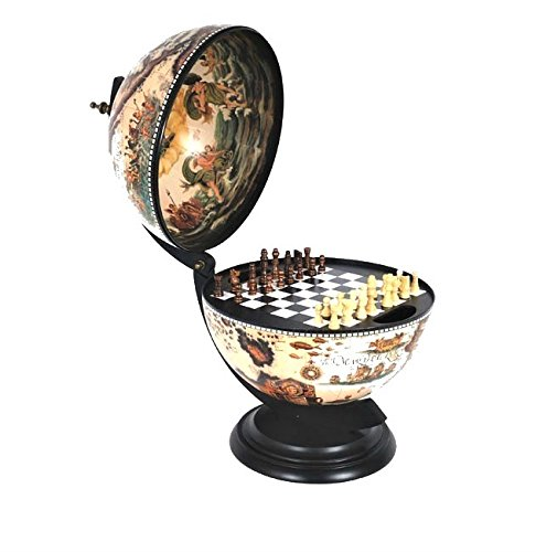 Old Modern Handicrafts Globe with Chess Holder, 13-Inch, White -