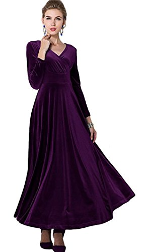 R.Vivimos Women Long Sleeve V-Neck Velvet Stretchy Long Dress Medium Purple -