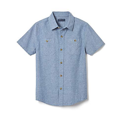 French Toast Boys' Big Short Sleeve Chambray Shirt, Washed, 8 -