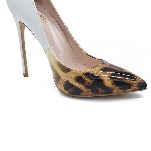 Genshuo Damesmode Spitse Neus Leopard Geprinte Pumps Hoge Hak Stilettos Sexy Slip-on Jurk Schoenen Bruin Wit Gradiënt Leopard