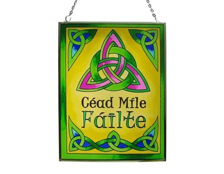 Stained Glass Trinity Knot - Carrolls Irish Gifts 16cm Stained Glass Hanging Decoration with Cead Mile Failte Design