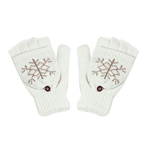 Lambswool Snowflake Winter Gloves - NUWFOR New Winter Snowflake Wool Lady Flap Gloves Fashion(White,Free)
