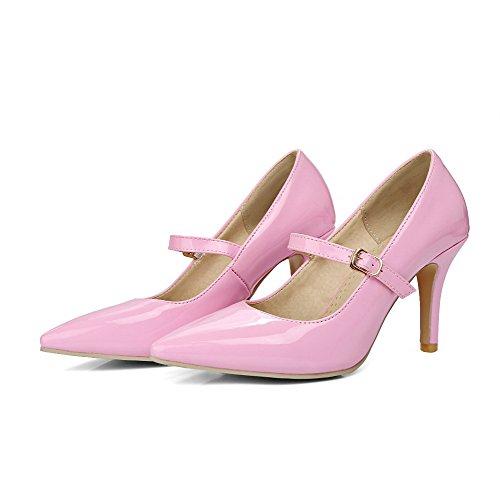 AllhqFashion Damen Hoher Absatz Rein Schnalle Lackleder Spitz Zehe Pumps Schuhe Pink