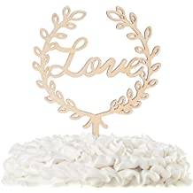 Love Wooden Wedding Cake Topper, Cursive Letters Rustic Decoration (Love Wreath)
