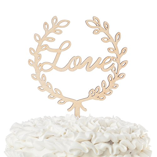 Love-Wooden-Wedding-Cake-Topper-Cursive-Letters-Rustic-Decoration-Love-Wreath