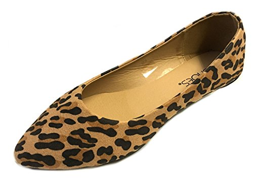 Shoes 18 Womens Pointy Toe Ballet Flats 8800 Leopard Micro 7/8