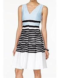 Anne Klein Womens Poplin Sleeveless Party Dress Blue 16