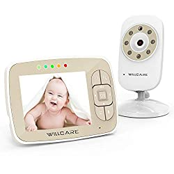 """Baby Monitor, Video Baby Monitor 3.5"""" Large LCD Screen, Baby Monitors with Camera and Audio Night Vision,Support Multi Camera,ECO Mode,Two Way Talk Temperature Sensor,Built-in Lullabies (beige1)"""