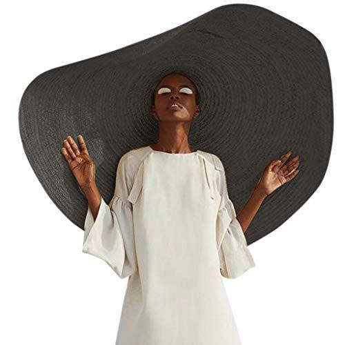 Women Wide Brim Straw Panama Roll up Hat Fedora Beach Sun Hat Women's Sun Hats Outdoor Wedding Cap for Travel UPF50+