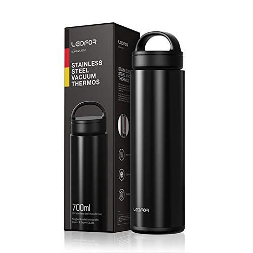 (Leidfor Tea Mug Tumbler Coffee Thermos Double Wall Vacuum Insulated Water Bottle Tea Cup With Tea Leaf Filter Stainless Steel Leakproof Lid Handle 24-Ounce Black)