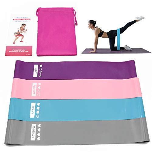 25 Hours Non-Slip Latex Resistance Exercise Bands for Leg and Butt, Exercise Equipment for Physical Therapy, Home Gym, Crossfit, Stretching and Strength Training, 4 Resistance Levels (Best Tricep Toning Exercises)