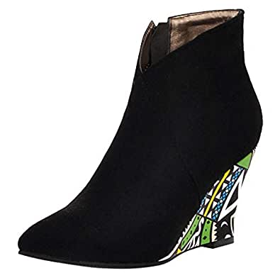 ELEEMEE Women Classic Wedge Heel Autumn Boots Pointed Toe Ankle Bootie Zip Black Size 34 Asian