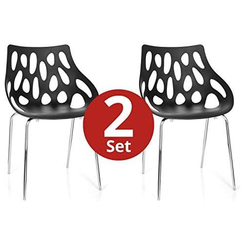 chollos oferta descuentos barato hjh OFFICE 723054 silla de confidente BRIGHT lote de 2 2 sillas plástico negro silla visitante apilable