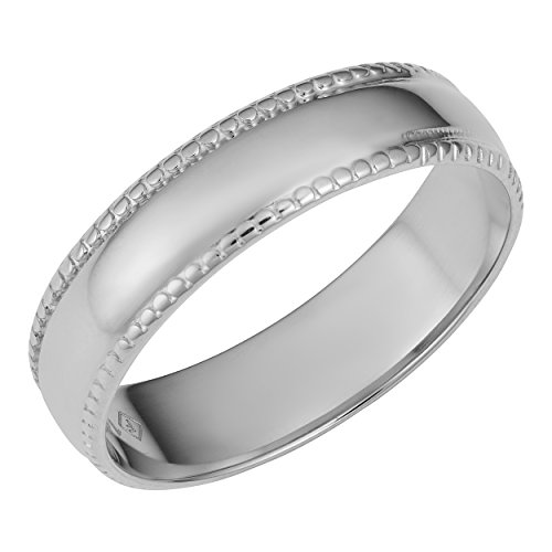 - Kooljewelry 14k White Gold Milgrain Wedding Band Ring (Size 8)