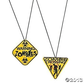 Party Supplies - Zombie Warning Sign Necklaces,2