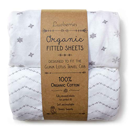 (Guava Lotus Travel Crib Sheets (Set of 2) - 100% Organic Cotton Crib Sheets, Baby and Toddler, Fitted Crib Sheets, for Boys & Girls (for The New 4 TAB Mattress ONLY))