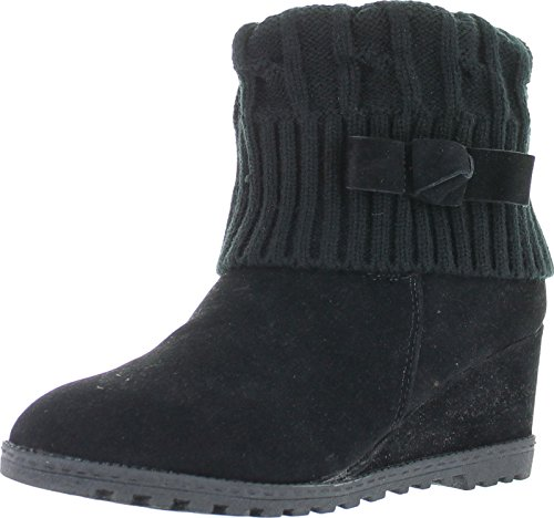 Bella Marie Marisa-11 Women's alond toe wedge heel sweater shaft and opening with bow decor suede boots Black 8 Sweater Wedge Boot