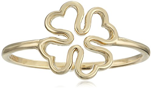 14k Yellow Gold Clover Ring, Size 7 (14k Clover Yellow Gold)