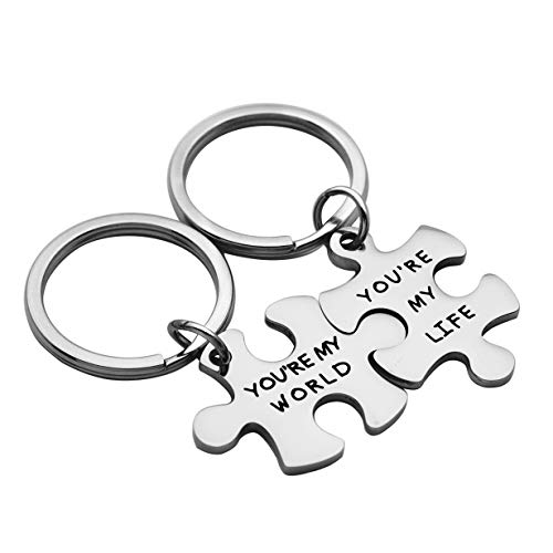 Meibai Couples Jewelry Stainless Steel Puzzle Pendant Necklace Keychain for Boyfriend and Girlfriend (Keychain-You are My World & You are My Life)