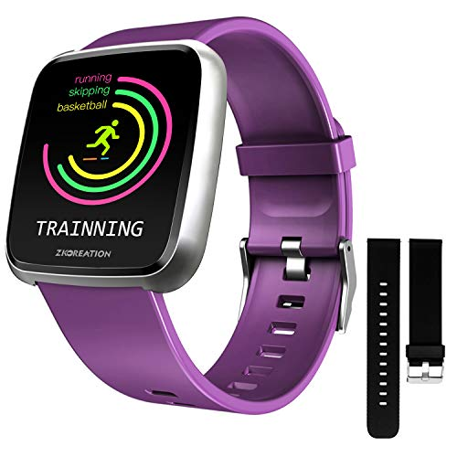 ZKCREATION Smart Watch Heart Rate Monitoring Fitness Tracker with Sleep Monitoring Blood Pressure Stopwatch Pedometer Sport Watch for Men & Women Compatible with Android and iOS