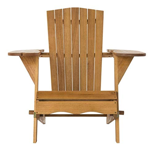 Safavieh PAT7034A-SET2 Outdoor Collection Breetel Teak (Set of 2) Adirondack Chair, Natural (Chairs Aderondack)