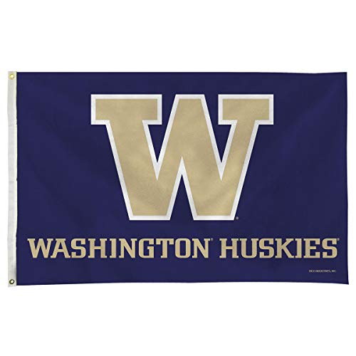 Rico Industries NCAA Washington Huskies 3-Foot by 5-Foot Single Sided Banner Flag with Grommets ()