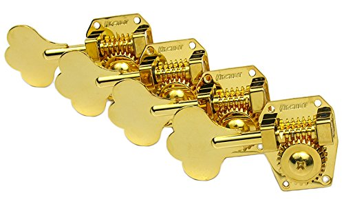 HIPSHOT HB1 Bass Guitar Tuners, 4-in-line, LEFT HANDED, Gold, HB-1 Lefty