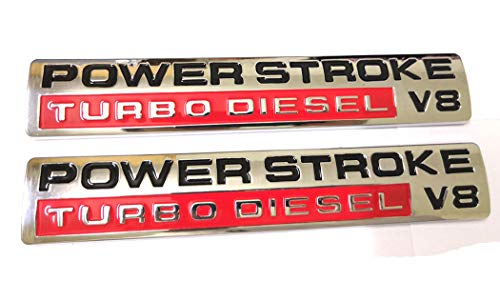 - 2pcs Power Stroke Turbo Diesel V8 Fender Emblems Replacement for F250 F350 F450 Chrome/Red