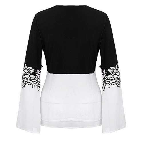 Finas Las Largas Camiseta Camisas Negro Mangas Manera Camisa Impresa La Luckycat Mujeres 2 De collar V xYRnt4