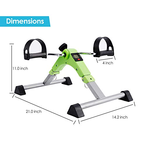 SYNTEAM Foldable Pedal Exerciser with LCD monitor bike exercise machine for Seniors-Fully Assembled, No Tools Required(Green) by Synteam (Image #5)