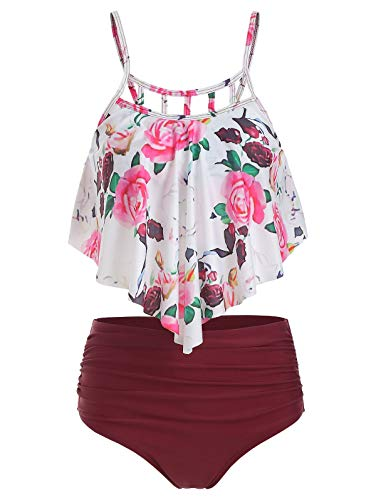 - CNSTORE Summer Women's Comfortable and Sexy Floral Print Cut Out Overlay Tankini Set Red Wine