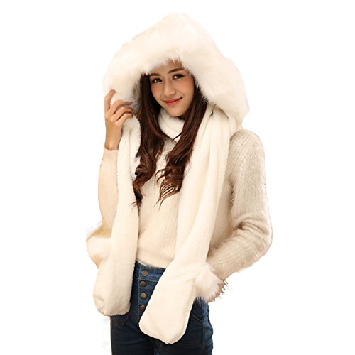 Women's Full Length Snow White Costumes (Julvie Women Girl Faux Fur Soft Winter Warm Hoodie Hat with Attached Scarf and Mittens)