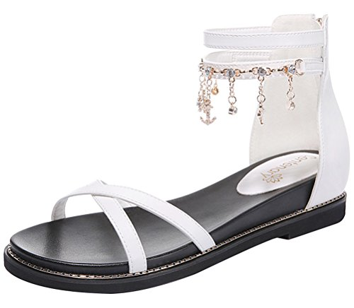 T&Mates Womens Summer Comfort Rhinestone Tassels Ankle Strap Open Toe Back Zipper Flat Sandals (5.5 (Hose Order Form)