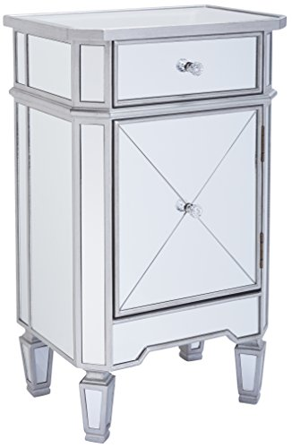 Monarch specialties I 3702, Accent Chest 1 Drawer 1 Cabinet, Mirrored, Brushed Silver Trim, 29