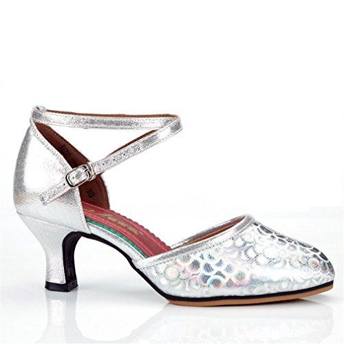 Jazz tacón Samba Tobillo Adulto Baile Goma 5 Latino 5CM de de de de Blando Plata Alto Zapatos Zapatos Modern Zapatos Cuero con de de Sandalias Mujeres los Baile Fondo Onecolor BYLE Suela Danza q6XtYRq
