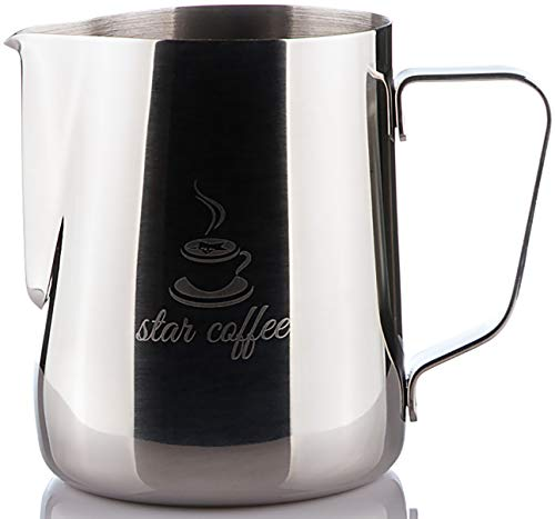 Star Coffee 20, 12 or 32oz Stainless Steel Milk Frothing Pitcher - Measurements on Both Sides Inside Plus eBook & Microfiber Cloth - Perfect for Espresso Machines, Milk Frothers, Latte Art