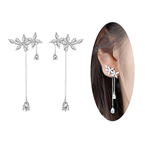 Wcysin 925 Sterling Silver Leaves Wrap Earrings Crawler for Women Dainty Flowers Threader Tassel Chain - Date Flowers Earrings