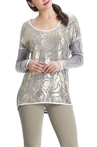 Laura Moretti - Camiseta asimétrica de manga larga con lentejuelas Gris