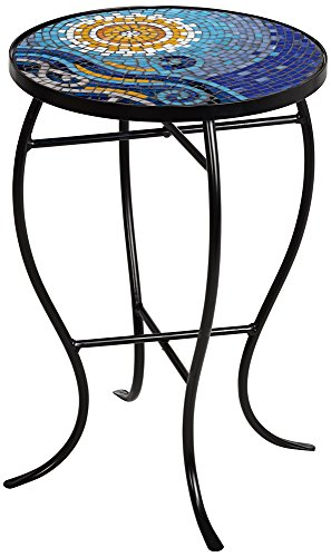 Ocean Mosaic Black Iron Outdoor Accent Table