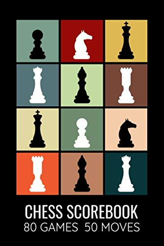 Chess Scorebook 80 Games 50 Moves: Record your Games, Track your Moves & Analyse your Strategies | Easy To Carry (80 scoresheet pages, 6x9 inches) | Gift for Chess players | Championship Notebook