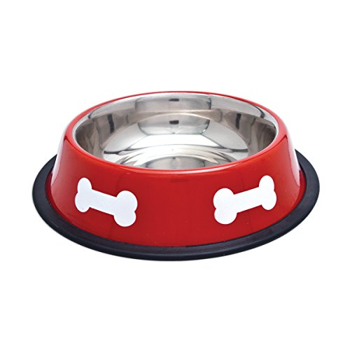 (westminster pet products 19216 16 OZ, Red With White Bones, Stainless Steel Fashion Bowl )
