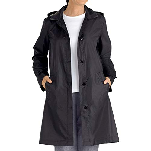 Nero Hooded Size Coat Monopetto Manica Trench Mxssi Donna Windbreaker Lunga Large Casual Cappotto x7Y7wqZp