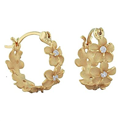 14kt Yellow Gold Plated Sterling Silver 7mm Plumeria Hoop Earrings
