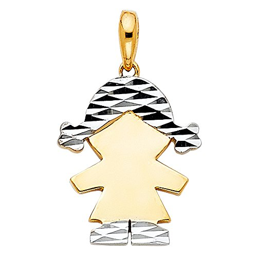 14K Two Tone Gold Girl Charm Pendant For Necklace or Chain