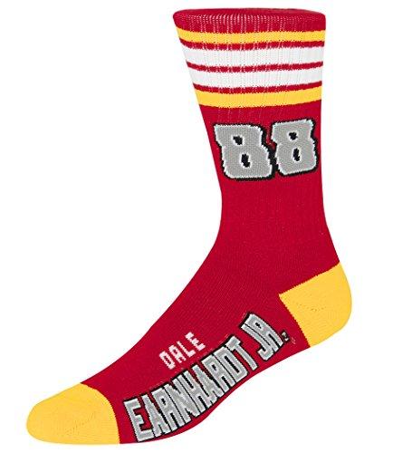 For Bare Feet NASCAR 4 Stripe Deuce Crew Mens Socks-Dale Earnhardt Jr #88-Red/Gold-Large(10-13) (Nascar Red Number)
