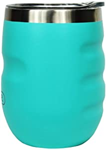 SIPLR 'No Slip Grip' 12 oz Stainless Steel Insulated Wine Tumbler With Slide Cover Lid Perfect For Indoor or Outdoor Beverages, Cocktails, Coffee, Tea or Soft Drinks (Bay Breeze)
